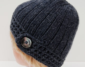 Womens knitted hat - hand knitted beanie - blue wool hat - knit blue hat with button- blue wool beanie - blue knitted hat - merino wool hat