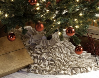 Christmas Tree Skirt, Ruffled Tree Skirt, Neutral, Burlap, Sewn Tree Skirt, Rustic Christmas - 60 Inch, 60""
