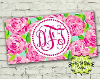 License Plate Pink Rose Personalized Car License Plate Custom Pink Roses Monogrammed
