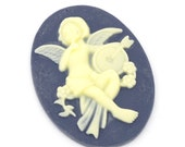 10 Cameo Angels - Blue -WHOLESALE - 39x30mm - Ships IMMEDIATELY from California - C110a