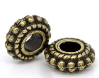 100 Spacer Beads - WHOLESALE - Antique Bronze - Wheel - 8x3mm - Ships IMMEDIATELY from California - B1072a