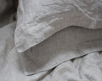 """Natural softened linen pillow case with Oxford Border Natural color 20"""" x 36"""" Handmade Eco - Custom size"""