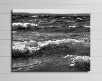 Black and White Canvas, Large Ocean Wall Art, 30x40 Photography, Lake House Decor, Coastal Picture, Gallery Wrapped Canvas