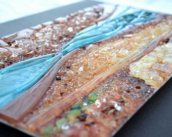 "RENOVATUS - A Pair of Fused Glass Wall Art 14"" by 21"" each-Mounted on Steel - Abstract Enamel Painting with textured surface - Made to Order"