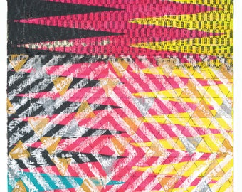 12x9 Geometric Abstract Painting, Pink, Yellow & Black Stripe on Panel NY1323