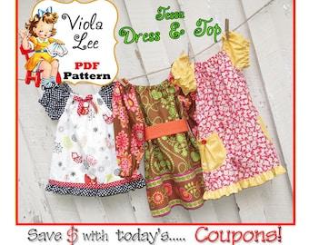 Girl's Peasant Dress Pattern, Girl's Dresses Pattern. Toddler Long Sleeve Dress Pattern. Girl's Short Sleeve Dress-Top pdf Pattern. Tessa