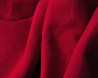 Red linen tablecloth.Natural linen party tablelcoth.Baby shower and birthday party tablecloth.Handsewn and ready to ship!