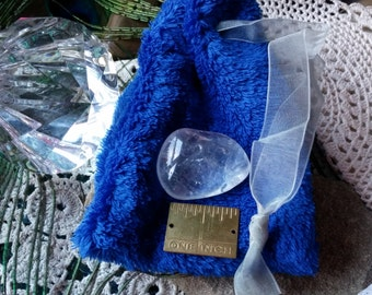 Clear Quartz Crystal, Large 35x26x15mm, In a Plush Royal Blue Draw String Bag 4.5x3.5inch, Great Gift, Graduation, Fathers Day, Mothers Day
