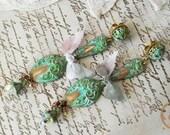 Romantic Verdigris Patina Swarovski Spoon Filigree Post Dangle Earring