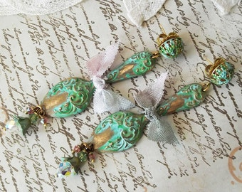 Romantic Verdigris Patina Swarovski Spoon Filigree Post Dangle Earring
