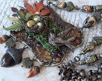 Forest Bounty Statement Necklace with Bird, Birds Nest, Acorns, Pearls, Rhinestones, Magnesite and Moss