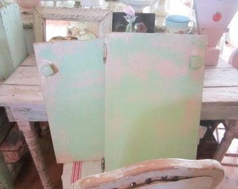 Vintage Shabby chic beautiful chippy pair minty green and pink doors  Bohemian prairie cottage