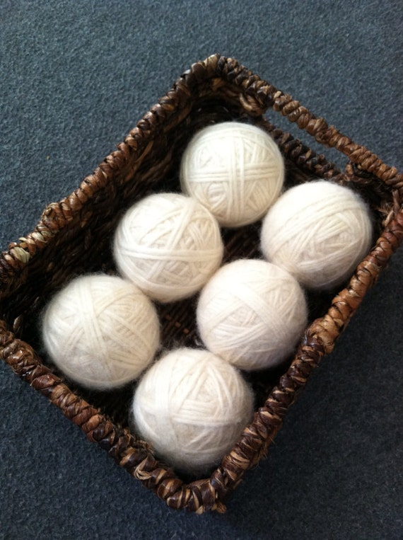 Felted Wool Dryer Balls Eco-friendly White set of 6