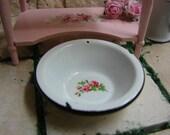 Dollhouse Miniature Shabby Chic Farmhouse Vintage White Round Wash Bowl with Rose Motif