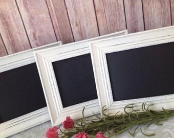 Shabby Chic FRAMED CHALKBOARD PACKS - picture frames - glass - wedding home nursery sign - easel back