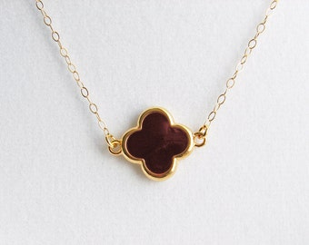 Small Clover Necklace. Simple Chocolate Brown Clover with Gold Colored Trim. 14K Gold Filled Chain. Bridesmaid, Friendship Gif
