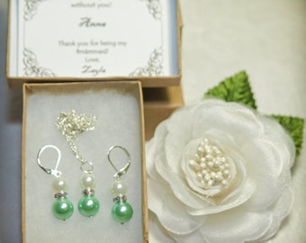 Personalized Bridesmaid Pearl Earrings and Necklace Set - Mint Green Bridesmaid Earrings and Necklace Set - Mint Green Bridesmaid Set / Gift