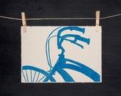 Blue Bike - Hand Printed Linocut - ORIGINAL