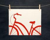 Red Bike - Hand Printed Linocut - PRINT