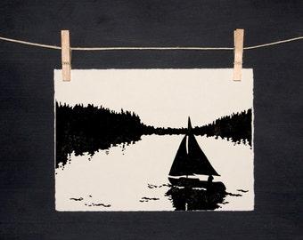 Sailboat - Hand Printed - Linocut