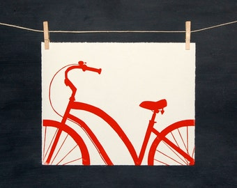 Red Bike - Hand Printed Linocut - PRINT