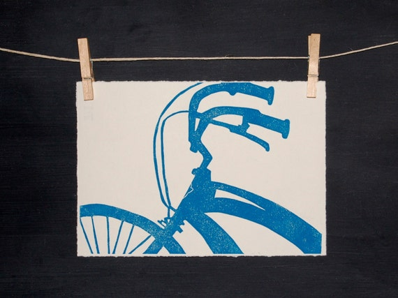 Blue Bike - Hand Printed Linocut - ORIGINAL