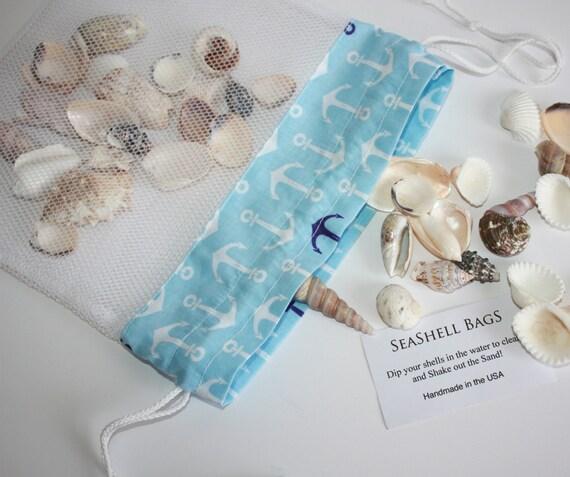 Seashell bag anchors aweigh mesh beach bag shelling bag for Bag of seashells for crafts