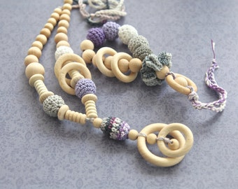 Lilac and grey set of 2. Teething ring toy and nursing necklace, rattle for baby and mom.