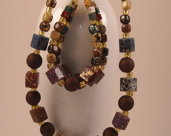 Multi-color Squares Necklace and Earrings Set