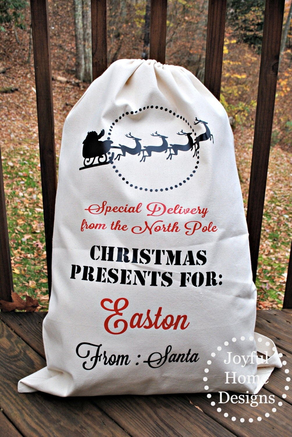 large custom santa sleigh sack personalized santa bag. Black Bedroom Furniture Sets. Home Design Ideas