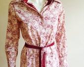 Vintage Geoffrey Beene Belted Print Shirt Dress