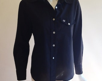 Vintage Christian Dior Black Button Down Monogram Blouse