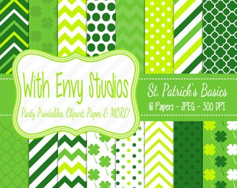 50% OFF  St. Patricks Day Digital Scrapbook Paper Pack - St. Patricks Scrapbook Paper Set - Green Digital Paper,