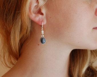 Gray Drop Earrings Handmade Silver Artisan Earrings Bezel Earrings Botswana Banded Agate Earrings
