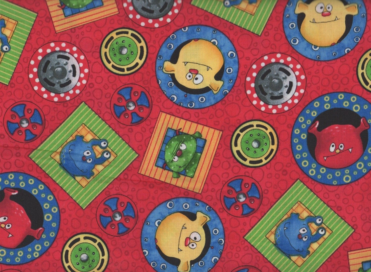 Monster fabric monster truck mania by quilting treasures for Monster truck fabric