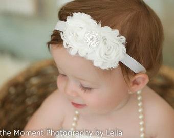White Shabby Flower Headband Baby Headband Birthday Photo Prop Pink Birthday Hair Children Kids Flower