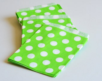 """75 Patterned Green Dots Paper Bags Size 5 1/8x6 3/8"""" Candy Bags -Birthday Paper Bags -Green Polka dots Paper bags -Wedding Favor Bags"""