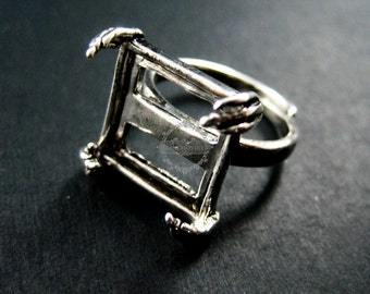 5pcs 15mm square base tray setting antiqued silver steam punk claw engraved adjustable ring jewelry findings 1294014