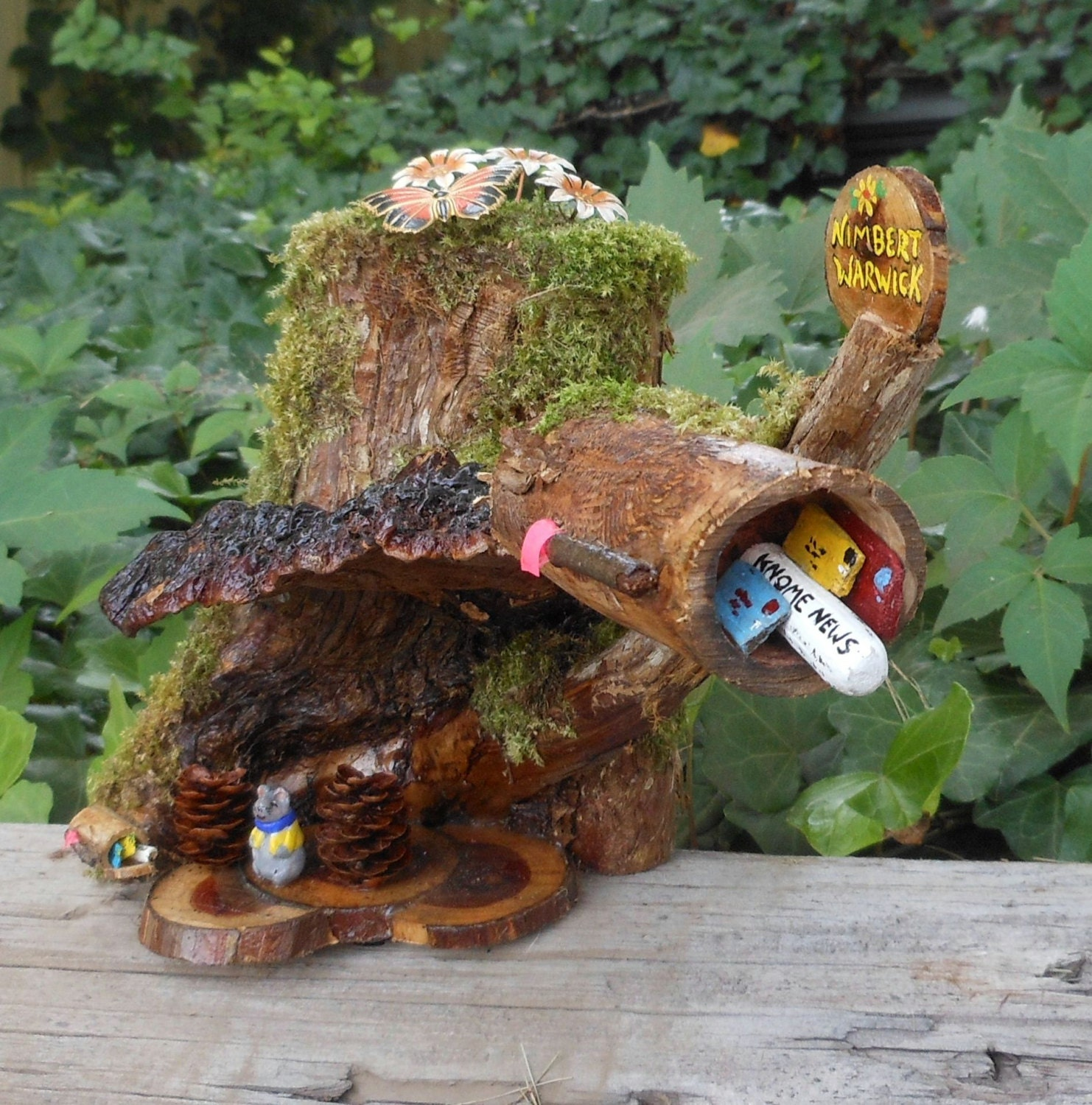 Fairy garden gnome mailbox mouse living under mushroom mouse for Little fairy mailbox