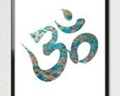 Blue Tide Faux Gold Foil OM Aum Zen Chant Art Print Poster - Minimalist Yoga India Mantra Symbol - Meditation Wall Art 8x10 A3 +More Sizes