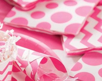 Pink Chevron Paper Napkins   Eco Friendly Stylish Pink Polka Dots  Baby Shower  Bridal Shower