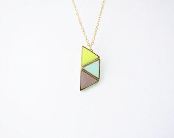 Geometric pastel necklace. Minimalistic necklace.  Fashion necklace  trapezium necklace