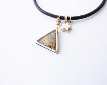 Geometric leather  bracelet. Minimal fashion. Minimalistic jewelry Triangle bracelet