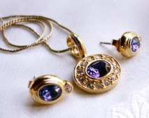 Vintage Blue Pendant Necklace and Earrings by Avon, Blue with Clear Stones Jewelry Set