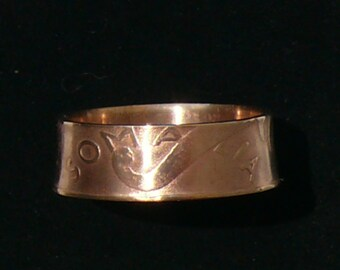 1950 Somalia 5 Centesimi Copper Coin Ring,  Ring Size 8 1/2 and Double Sided