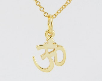 Solid 14K Yellow Gold Om Pendant