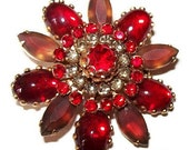 "Designer Brooch Pin Red Givre Rhinestones Ruffle Prong Set Gold Metal 2"" Vintage"