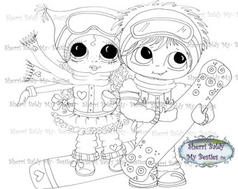 INSTANT DOWNLOAD Digital Digi Stamps Big Eye Big Head Dolls Digi  My Besties Boarders 3 Digi  By Sherri Baldy