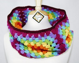 Rainbow Granny Square Cowl- Rainbow- Crochet Cowl- Women Accessories- Neck Warmer- Christmas Gift- Gift For Her- Winter Scarf