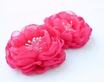 Pink Wedding Hair Accessories, Bridal Flower Clips Bridal Hair Flowers Wedding Hairpiece Hot Pink Chiffon Bridesmaid Hair Flowers - set of 2